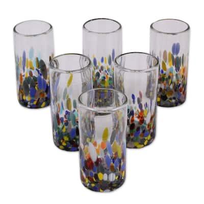 """NOVICA Handmade Blown Confetti Festival Glasses, Set of 6 (Mexico) - 6.0 """" H x 2.8"""" Diam."""