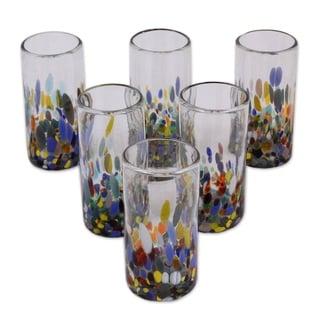 "Link to Handmade Blown Confetti Festival Glasses, Set of 6 (Mexico) - 6.0 "" H x 2.8"" Diam. Similar Items in Glasses & Barware"