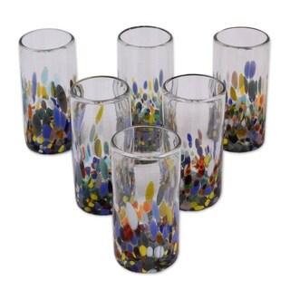 Handmade Set of 6 Blown Glass 'Confetti Festival' Glasses (Mexico)