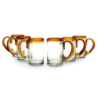 Set of 6 Handcrafted Blown Glass 'Amber Beer' Beer Glasses (Mexico)