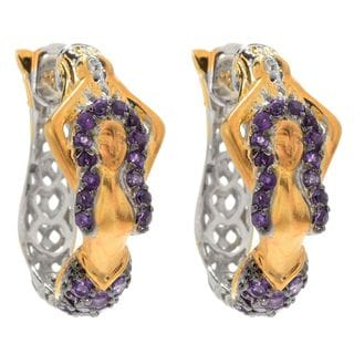One-of-a-kind Michael Valitutti African Amethyst Mermaid Hoop Earrings