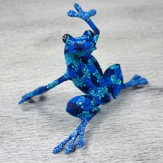 Handmade Copal Wood 'Blue Dancing Frog' Figurine (Mexico)