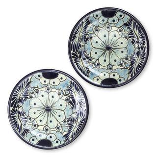 Set of 2 Handcrafted Ceramic 'Blue Colonial Blossom' Dessert Plates (Mexico)
