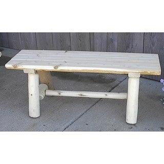 White Cedar Log Rustic Backless Garden Bench