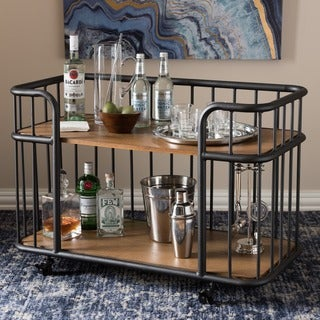 Baxton Studio Nikoleta Rustic Industrial Style Antique Black Textured Finished Metal Distressed Ash Wood Mobile Serving Bar Cart