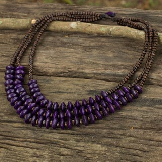 Handcrafted Littleleaf Boxwood 'Happy Purple Brown' Necklace (Thailand)