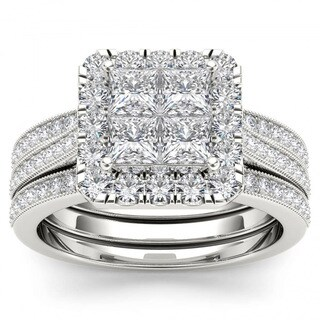De Couer 14k White Gold 1 1/2ct TDW Diamond Halo Bridal Set - White H-I