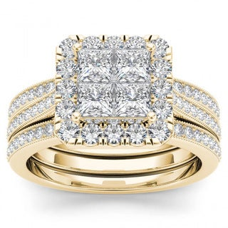 De Couer 14k Yellow Gold 1 1 2ct TDW Diamond Halo Bridal Set