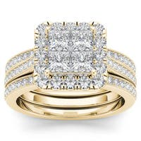 De Couer 14k Yellow Gold 1 1/2ct TDW Diamond Halo Bridal Set