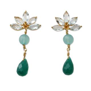 Handcrafted Gold Overlay 'Aqua Radiance' Multi-gemstone Earrings (India)