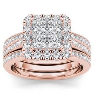 De Couer 14k Rose Gold 1 1/2ct TDW Diamond Halo Bridal Set