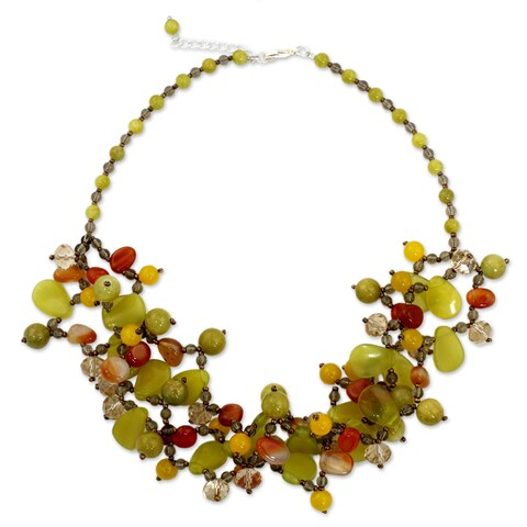 Handmade Sterling Silver Plate 'Springtime Symphony' Multi-gemstone Necklace (Thailand)