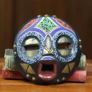 Handmade Okyeame Linguist Sese Wood Beaded Mask (Ghana)