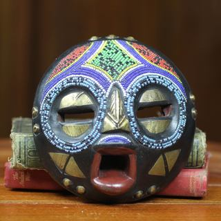 Handcrafted Sese Wood 'Okyeame Linguist' Beaded African Wall Mask (Ghana)