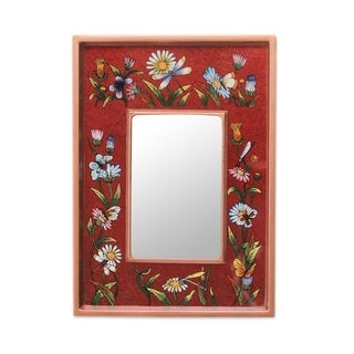 Handcrafted Reverse Painted Glass 'Scarlet Fields' Wall Mirror (Peru)
