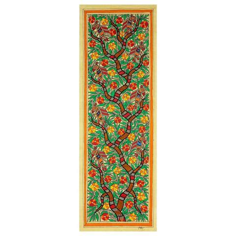 Handmade Madhubani 'Tree of Life II' Painting (India) - multi