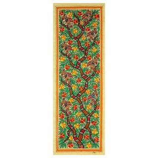 Handcrafted Madhubani 'Tree of Life II' Painting (India)
