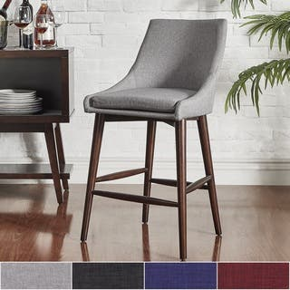 Sasha Espresso Barrel Back Counter Stools (Set of 2) iNSPIRE Q Modern