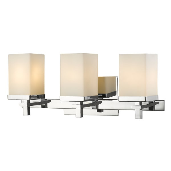 Laurel Designs Maddox Chrome Finished Steel Glass 3 Light Bath Vanity Fixture Free Shipping