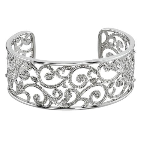 Sterling Silver Diamond Accent Vine Cuff Bracelet (H-I, I1-I2) by Ever One