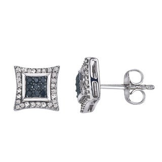 Sterling Silver 1/4ct TDW Diamond Square Stud Earrings by Ever One
