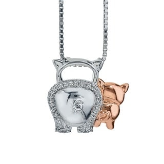 10k Rose Gold over Silver Diamond Accent Pig Mom and Child Necklace (H-I, I1-I2)