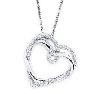 Sterling Silver Diamond 1/4ct TDW Heart Pendant (I1-I2)