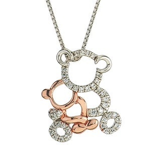 10k Rose Gold over Silver Diamond 1/10ct TDW Bear Mom and Child Necklace by Ever One