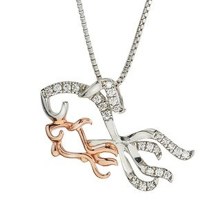 Gold over Silver Diamond 1/10ct TDW Fish Mom and Child Necklace (H-I, I2-I3) by Ever One