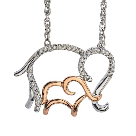 14k Rose Gold over Silver Diamond 1/10ct TDW Elephant Mom and Child Necklace by Ever One