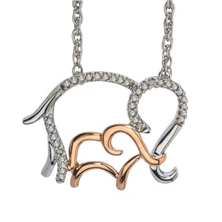14k Rose Gold over Silver Diamond 1/10ct TDW Elephant Mom and Child Necklace by Ever One (H-I, I2-I3)
