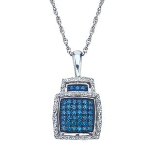 Sterling Silver 1/2ct TDW Blue Diamond Pendant (H-I, I2-I3) by Ever One