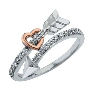 10k Gold over Silver 1/4ct TDW Diamond Arrow Ring (H-I, I2-I3) by Ever One