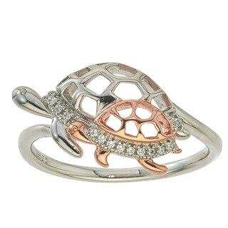 10k Rose Gold over Silver Diamond Accent Turtle Ring
