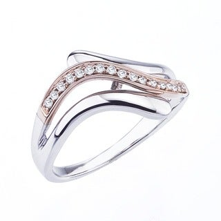 10k Rose Gold over Silver 1/8ct TDW Diamond Band by Ever One