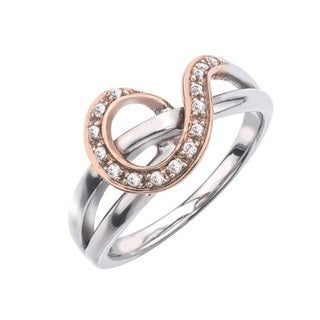 10k Rose Gold over Silver 1/10ct TDW Diamond Ring by Ever One