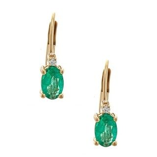 Anika and August 10k Yellow Gold Zambian Emerald and Diamond Accent Earrings