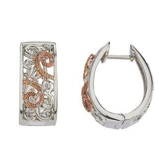 10k Rose Gold over Silver Diamond Accent Earrings by Ever One
