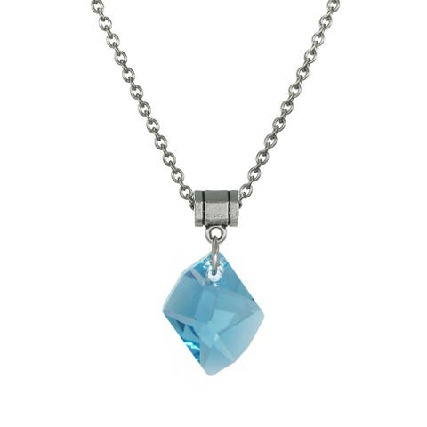 Handmade Jewelry by Dawn Aquamarine Blue Crystal Cosmic Stainless Steel Chain Necklace (USA)