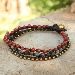 Handcrafted Brass 'Natural Mix' Jasper Agate Bracelet (Thailand)