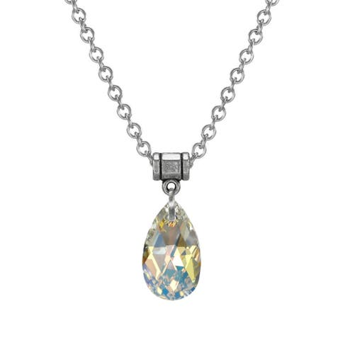 Handmade Jewelry by Dawn Aurora Borealis Crystal Pear Stainless Steel Chain Necklace (USA)