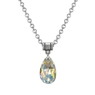 Jewelry by Dawn Aurora Borealis Crystal Pear Stainless Steel Chain Necklace - Multi (Option: 24 Inch)