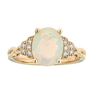 Anika and August 10k Yellow Gold Ethiopian Opal and 1/10ct TDW Diamond Ring (G-H, I1-I2)