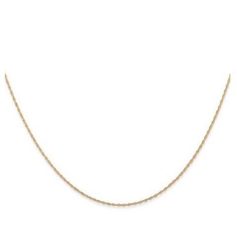 14k Gold 0.8-millimeter Carded Cable Rope Chain Necklace
