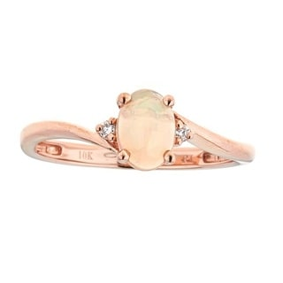 Anika and August 10k Rose Gold Ethiopian Opal and Diamond Accent Ring