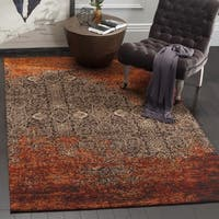 Safavieh Classic Vintage Rust/ Brown Cotton Distressed Rug - 6' Square
