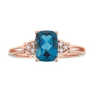Anika and August 10k Rose Gold London Blue Topaz and Diamond Accent Ring