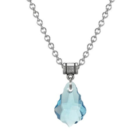 Handmade Jewelry by Dawn Stainless Steel Blue Crystal Baroque Necklace (USA)