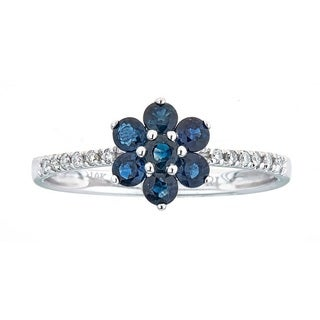 Anika and August 10k White Gold Blue Sapphire and Diamond Accent Ring