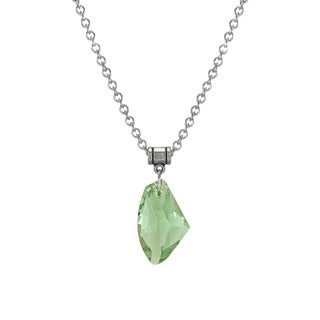 Jewelry by Dawn Stainless Steel Large Green Crystal Galactic Necklace